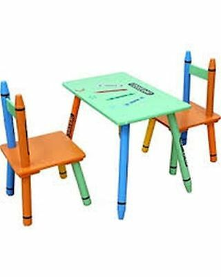 Bebe Style Children's Wooden Table & 2 Chairs Set With Crayon Design Green