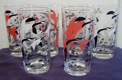 Lot Of Six Anchor Hocking Drinking Glasses - Flying Geese - Pink/black & White