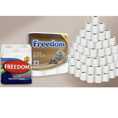 Freedom Shea Butter Toilet Paper 3Ply With 24x Rolls of Kitchen Towels (2ply)