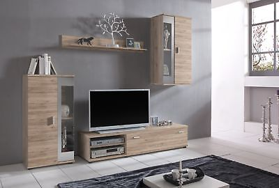 Modern TV Stand Light Wood Wall Mount Cabinet Shelf Entertainment Unit Cracow
