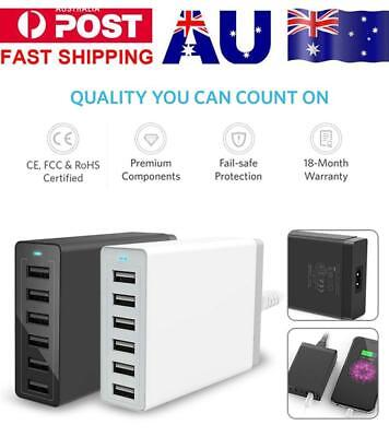 10A 50W Fast Charging Desktop Station 6 Port USB HUB Wall Home Travel Charger AU