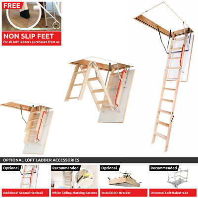 Optistep Best Folding Loft Access Ladders & White Hatch, Attic Stairs, Assembled
