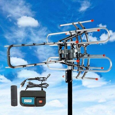 200 Miles Outdoor TV Antenna Motorized Amplified HDTV High Gain 32dB UHF VHF New
