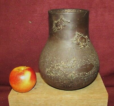 Antique Japanese Iron Vase with Crab Decoration Artist Signed