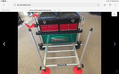 Maver 5-Draw Match Fishing Seat Box & Penrose Footrest - Excellent Condition