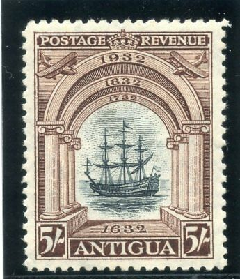 Antigua 1932 KGV Tercentenary 5s black & chocolate MLH. SG 90. Sc 76.