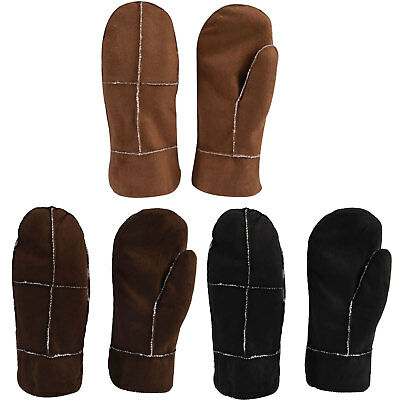 Ladies Mittens Gloves Suede Leather Sherpa Lined Warm Soft Winter Fur Comfy Knit