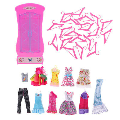20 pcs Plastic Doll Clothes Hangers & Wardrobe & 10 pcs Garment For Barbie