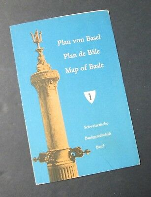 BASEL Map Fold Out w/ Hotels, Restaurants, Shops, Etc. Mid Century 1950s