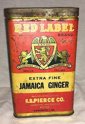 Vintage Red Label Extra Fine Jamaica Ginger Spice Tin S.S. Pierce Co.