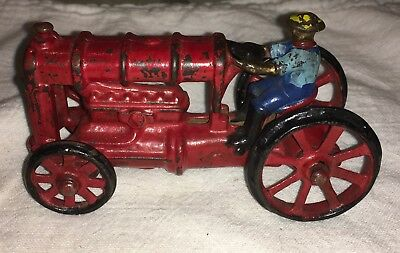 Vintage Cast Iron Toy Farm Tractor W/Driver Arcade Hubley? 5 in long RARE