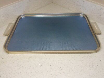 Vintage Retro Anodised Gold & Blue Woodmet Serving Tray Made in UK