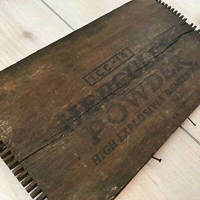 "Vintage Hercules Powder High Explosive Wooden Box Front Decoration ~10"" x 18"""