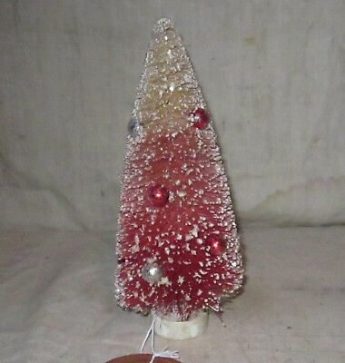 """Red Decorated Bottle Brush Tree 7"""" Tall"""