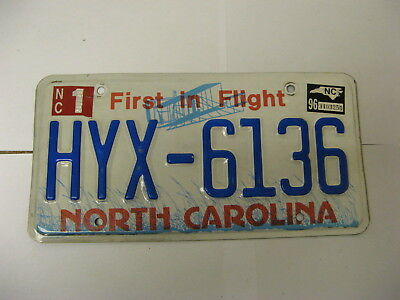 1996 96 North Carolina NC License Plate Airplane HYX-6136 Natural Sticker