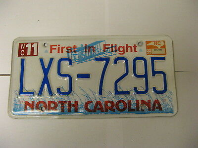 1999 99 North Carolina NC License Plate Airplane LXS-7295 Natural Sticker