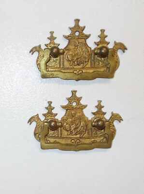 2 Vintage Antique Figural Brass Asian Chinese Pagoda Chinoiserie Drawer Pulls
