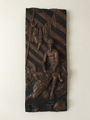 Antique Islamic/Asian Wooden Oak Carved Panel
