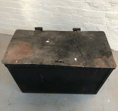Heavy Industrial Metal Chest/Trunk Totally Unrestored Condition