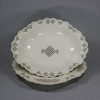Antique English creamware oval strawberry dish and stand, late 18th Century
