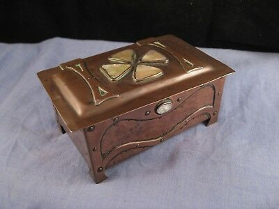 Arts & Crafts Copper Pearl Lucky 4 Leaf Clover Desktop Trinket Jewellery Box