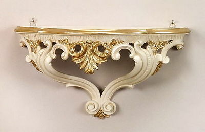 Wall Bracket Ivory White-Gold Mirror Console Baroque 38x20x16 Antique Wall Shelf