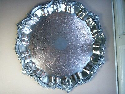 Old Antique Silver Plate on Copper Sheffield Georgian Style Serving Tray c.1860