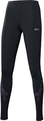 Asics Tiger Womens Long Breathable Compression Training Running Tights - Black