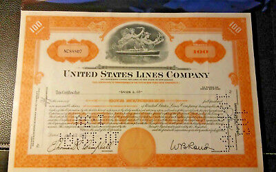 United States Lines Company Stock Certificate / Ocean Liner / Ship / New York
