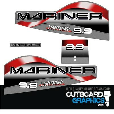 Mariner 9.9hp lightning outboard engine decals/sticker kit