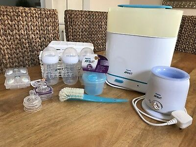Philips AVENT 3-In-1 Electric Steam Steriliser AND Bottle Warmer Plus Extras