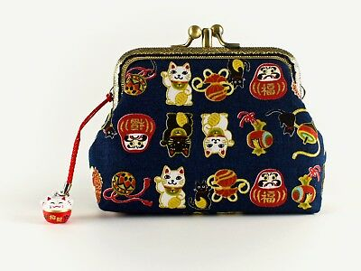 Handmade Twin Compartment Japanese Lucky Cats Coin Purse Collectable #0167