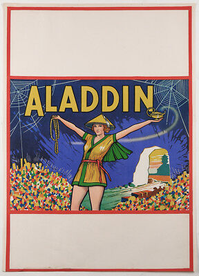 Antique Art Deco Theater Poster 1930s Lithograph Orientalist Aladdin Pin-Up Fine