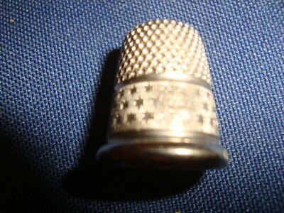 Vintage Thimble Germany #7 Silver Metal  Star Design