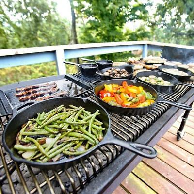 """NoStick Frypan Round Skillet Grill Cast Iron Camping BBQ Fry Pan Cookware 35"""" SH"""