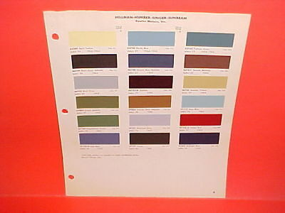1962 1963 1964 Hillman Super Minx Humber Singer Sunbeam Alpine Tiger Paint Chips