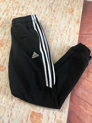 Adidas Classic 3 Stripe Cotton Skinny Track Pants Black Size 11/12 Youth Med
