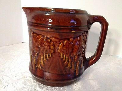 Antique 2 Qt Brush McCoy Pitcher Pottery Avenue of Trees Brown Glazed