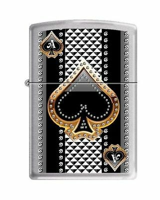 """Zippo """"Ace of Spades"""" Lighter, Brushed Chrome, Full Size, 7951"""