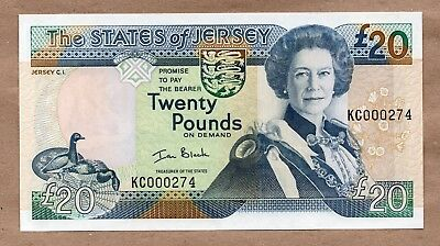 Jersey - 20 Pounds  - Nd2000 - P29 - Low Serial# 000274 - Uncirculated