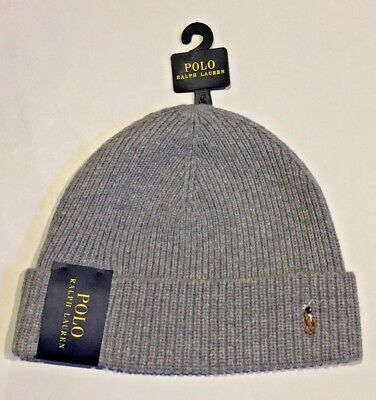 Men's Polo Ralph Lauren Cuffed Beanie Hat Gray 033 NWT  Merino Wool