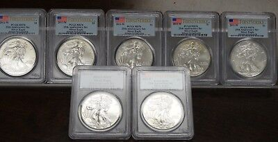 Lot Of (7) 2011-W Silver Eagle Dollars Pcgs Ms70 2Nd Quality - 25Th Ann. Set