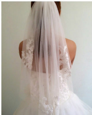 Ivory Bridal Wedding Veil Lace Trim Fingertip Length Comb Rhinestone Accents