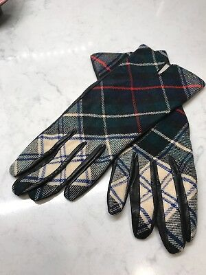 Vintage Tartan Plaid Wool and Leather Driving Gloves by Enners Of Edinburgh Sm