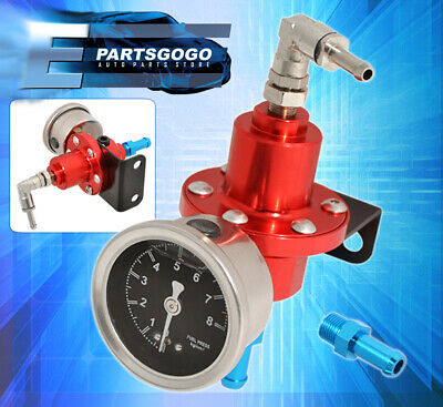 Anodized Red Fuel Pressure Regulator 0-140 Psi Light Weight With Liquid Gauge