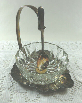 Vintage Sheffield England Silver Plate & Glass Relish Condiment Dish w/ Spoon