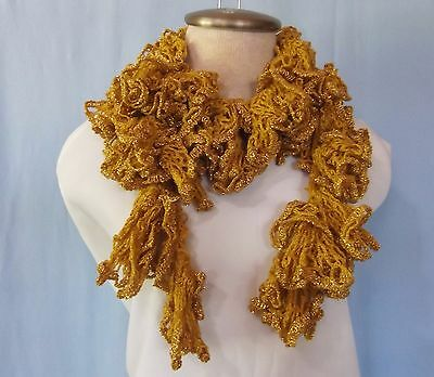 """New Hand Crocheted Gold Metallic Sparkle Twisted Ruffled Scarf 44"""" Long"""