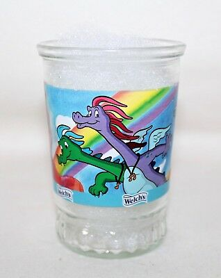 "#4 Of 6 Welch's Dragon Tales ""Catching Colors"" Jelly Jar Swanky Swig No Lid"