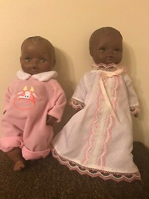 Vintage African American Eegee Doll 10 Inches And Horsman 1970s Doll 11 Inches