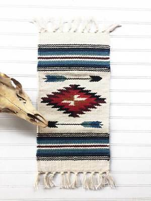 """Southwest Wool Table Rug/off white 10""""x20"""""""
